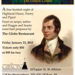 Celebrating Robbie Burns at The Gibson Centre 2015
