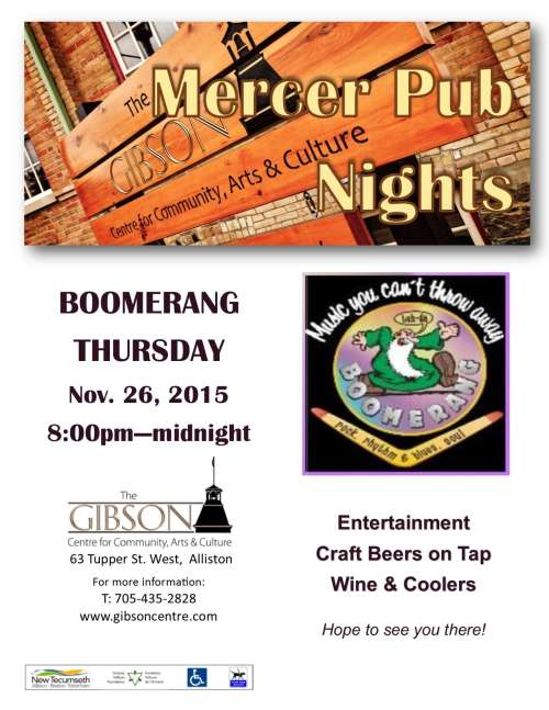 Boomerang at Mercer Pub Night - Nov 26, 2015