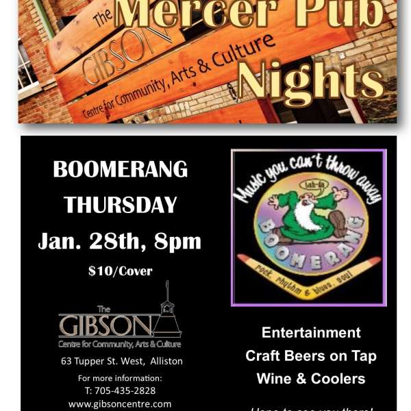 Pub Night with Boomerang - Thursday Jan 28th