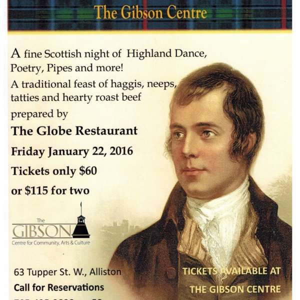 Robbie Burns Dinner & Celebration - Jan 22, 2016
