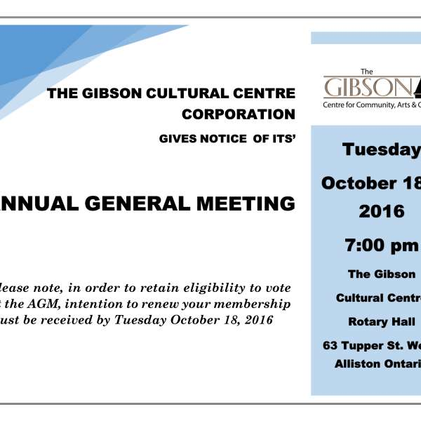 REMINDER: Annual General Meeting - October 18th, 2016