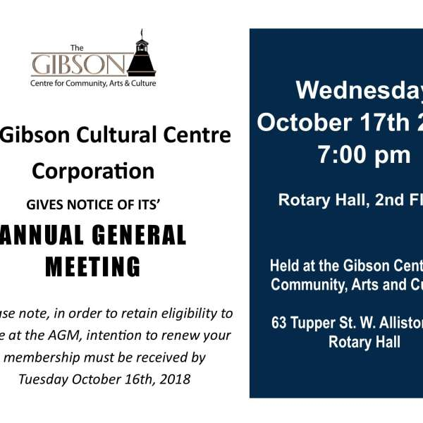 Annual General Meeting - Wednesday, Oct. 17th, 2018